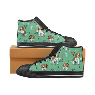 Beagle Flower Black High Top Canvas Women's Shoes/Large Size (Model 017) - TeeAmazing