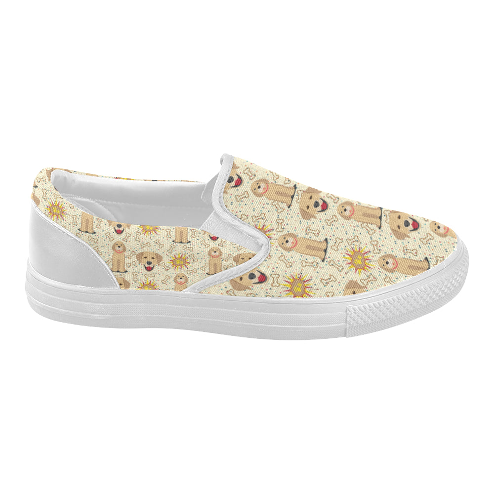 Golden Retriever Pattern White Women's Slip-on Canvas Shoes - TeeAmazing