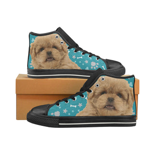 Peekapoo Dog Black High Top Canvas Women's Shoes/Large Size (Model 017) - TeeAmazing