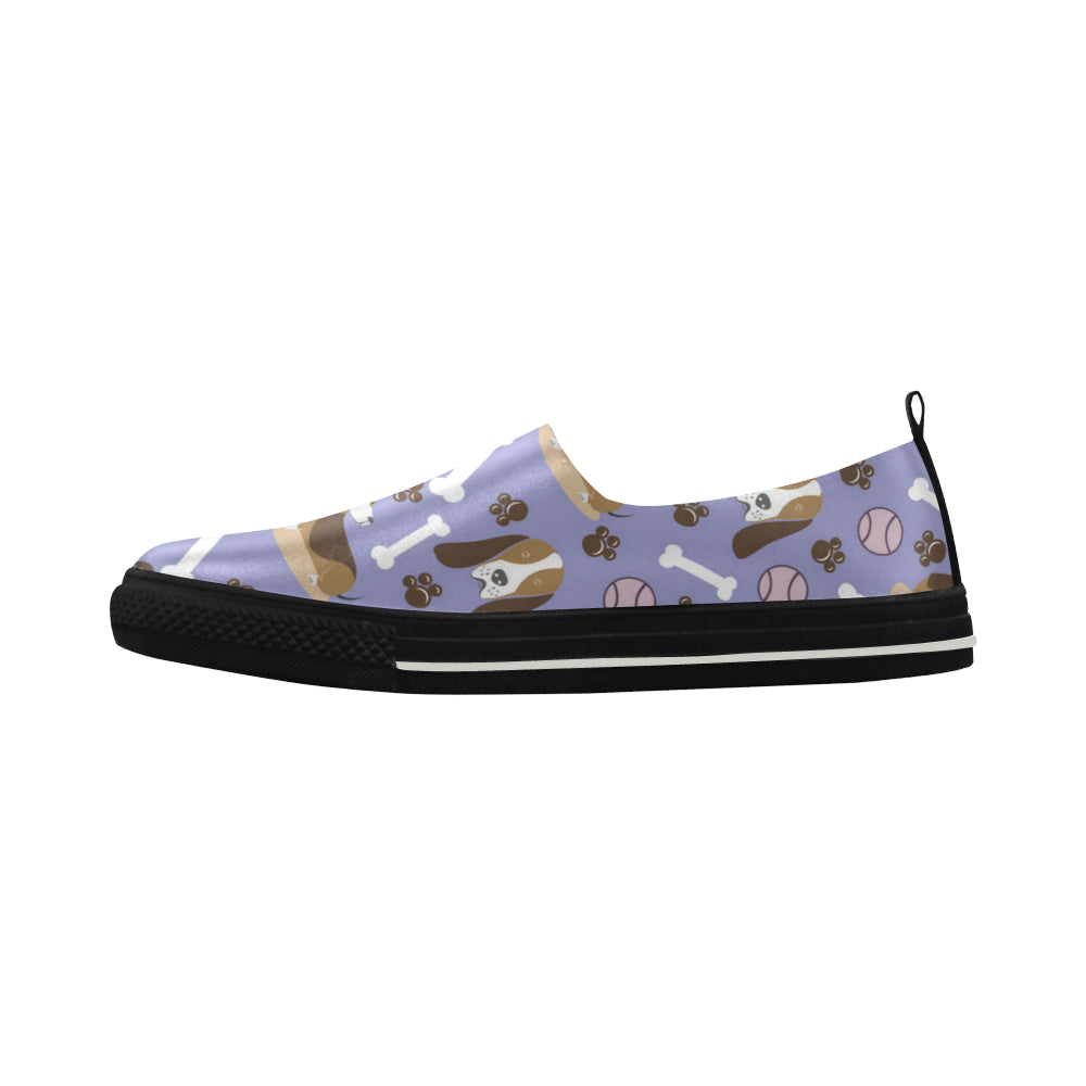Basset Hound Pattern Apus Slip-on Microfiber Women's Shoes - TeeAmazing