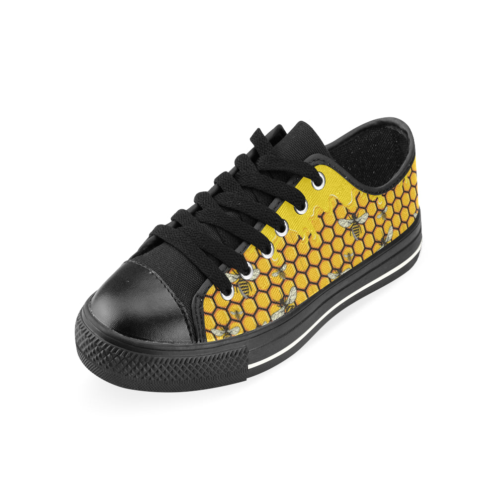 Bee Pattern Black Low Top Canvas Shoes for Kid - TeeAmazing