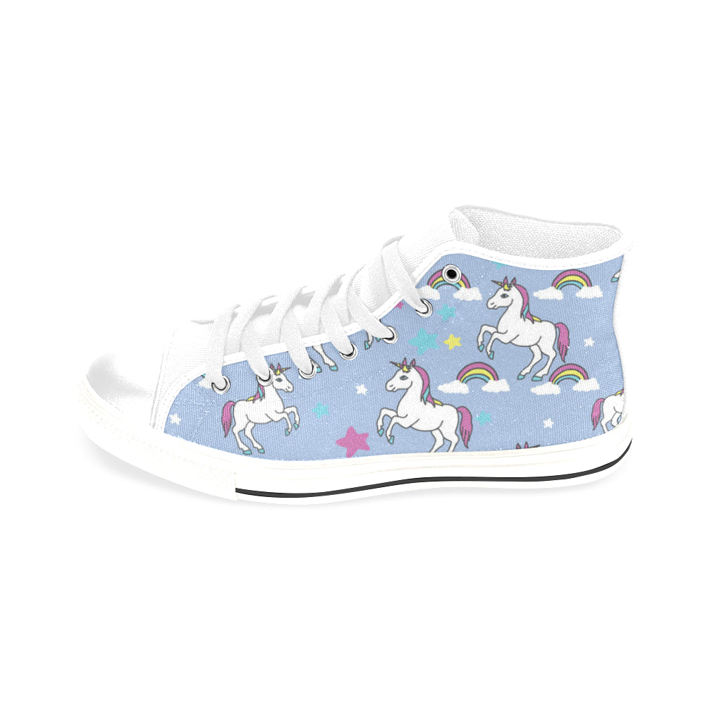 Unicorn Pattern White Men's Classic High Top Canvas Shoes /Large Size - TeeAmazing