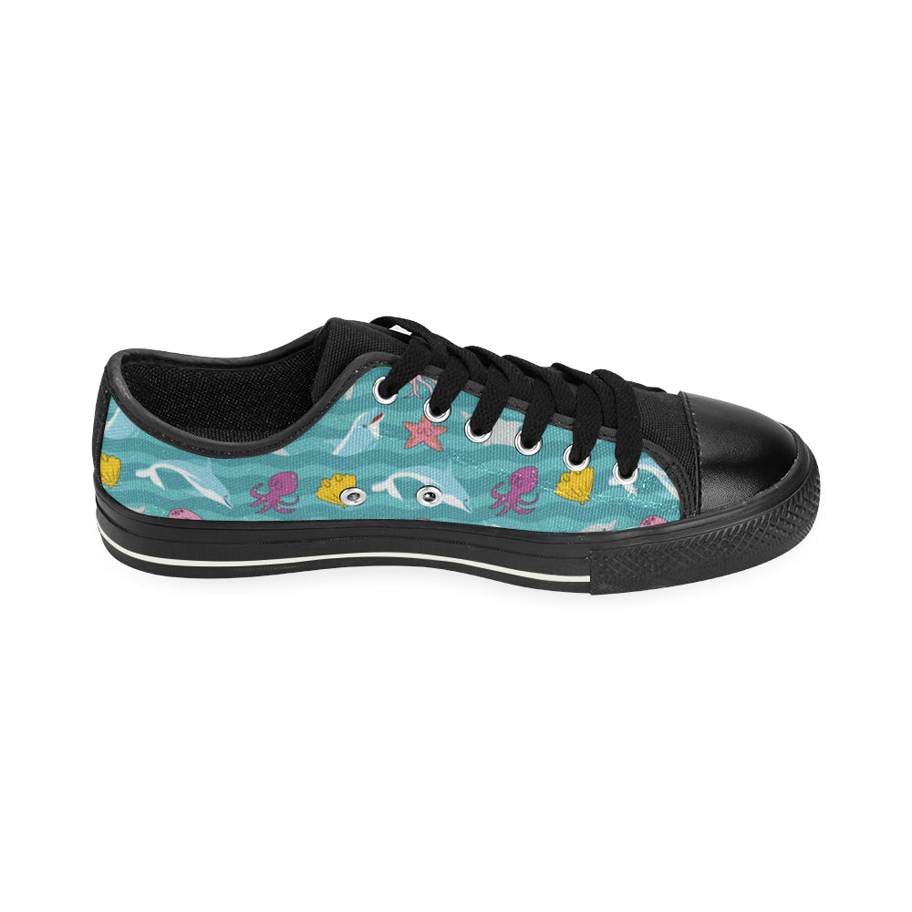 Dolphin Black Canvas Women's Shoes/Large Size - TeeAmazing