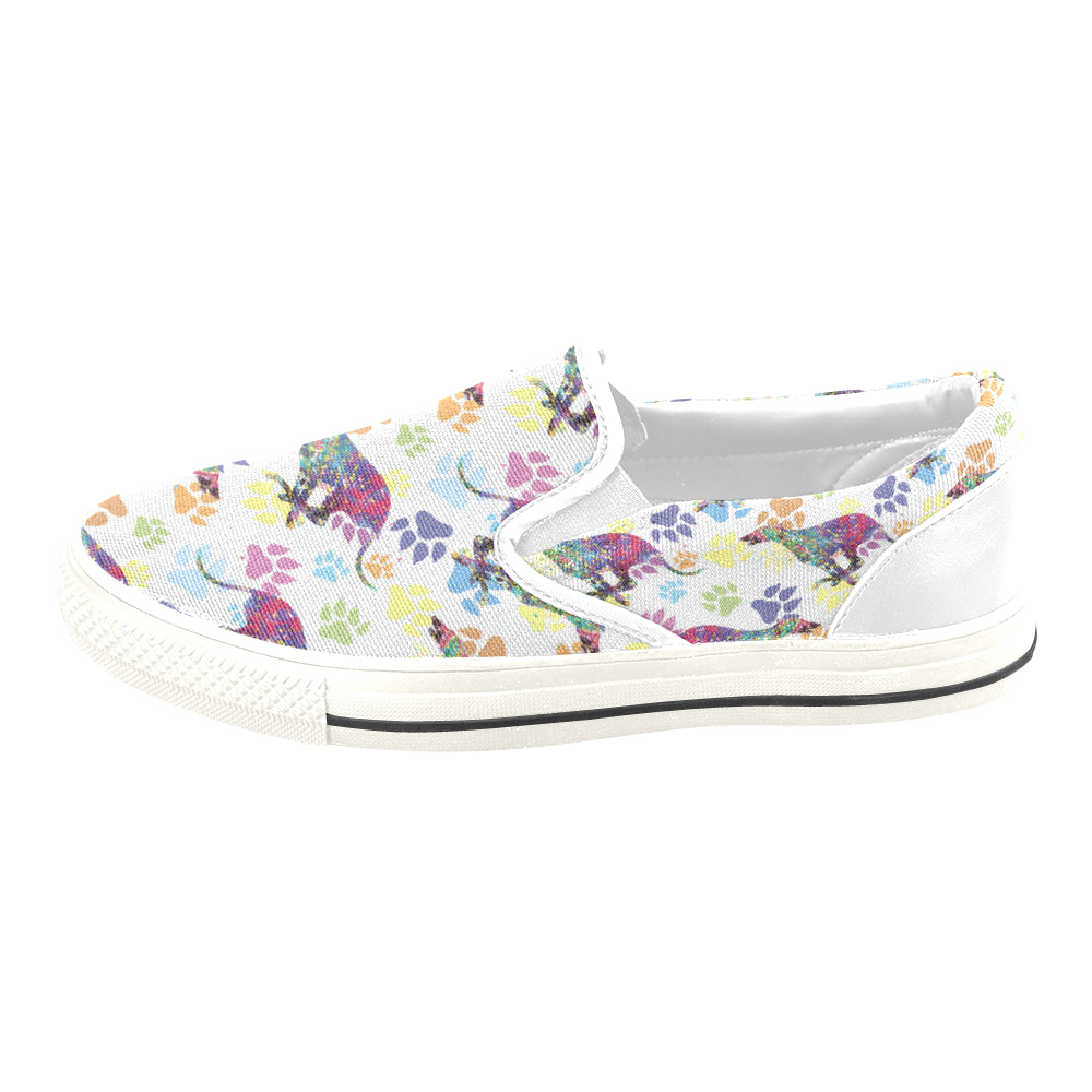 Greyhound Running Pattern No.1 White Women's Slip-on Canvas Shoes/Large Size (Model 019) - TeeAmazing