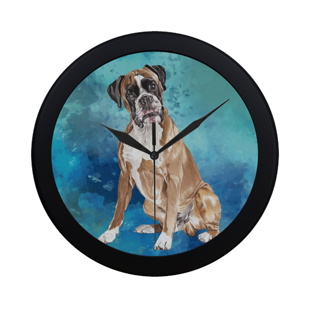Boxer Water Colour Black Circular Plastic Wall clock - TeeAmazing