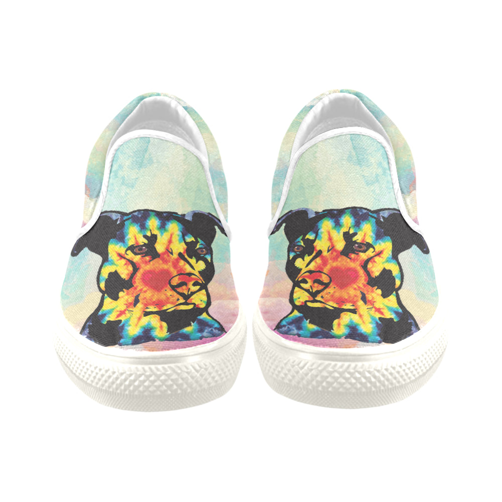 Pit Bull Pop Art No.1 White Women's Slip-on Canvas Shoes/Large Size (Model 019) - TeeAmazing