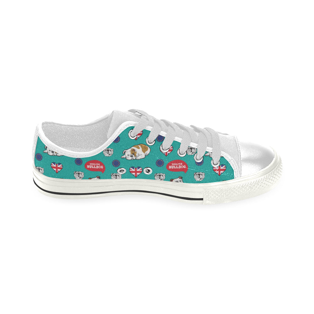 English Bulldog White Men's Classic Canvas Shoes - TeeAmazing