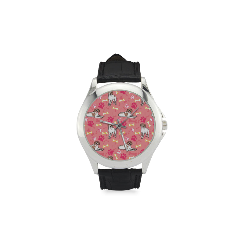Brittany Spaniel Pattern Women's Classic Leather Strap Watch - TeeAmazing