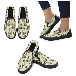 Siamese Black Women's Slip-on Canvas Shoes (Model 019) - TeeAmazing