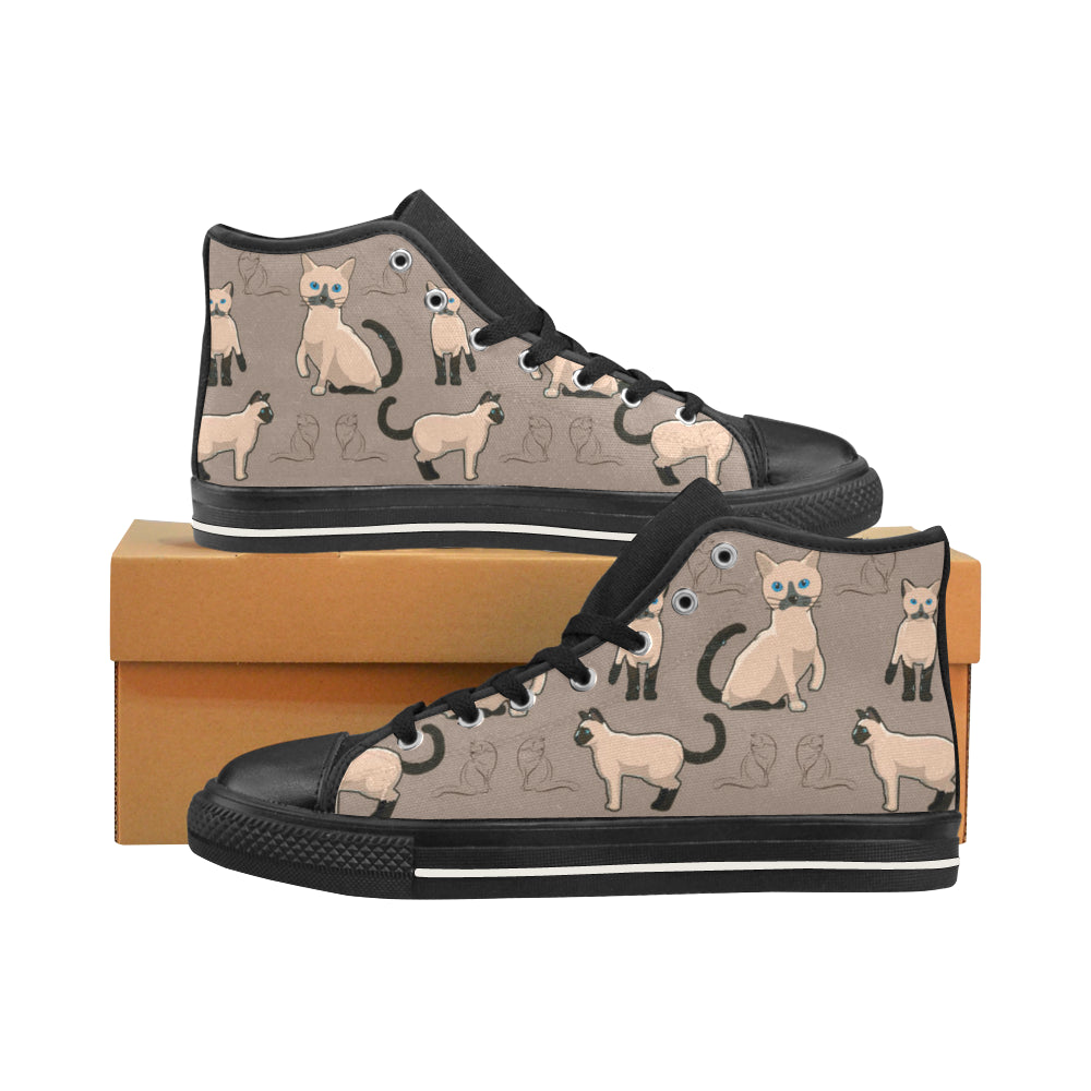Tonkinese Cat Black Men's Classic High Top Canvas Shoes /Large Size (Model 017) - TeeAmazing