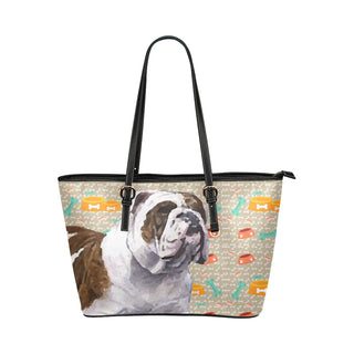 English Bulldog Leather Tote Bag/Small - TeeAmazing