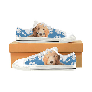 Goldendoodle White Low Top Canvas Shoes for Kid - TeeAmazing