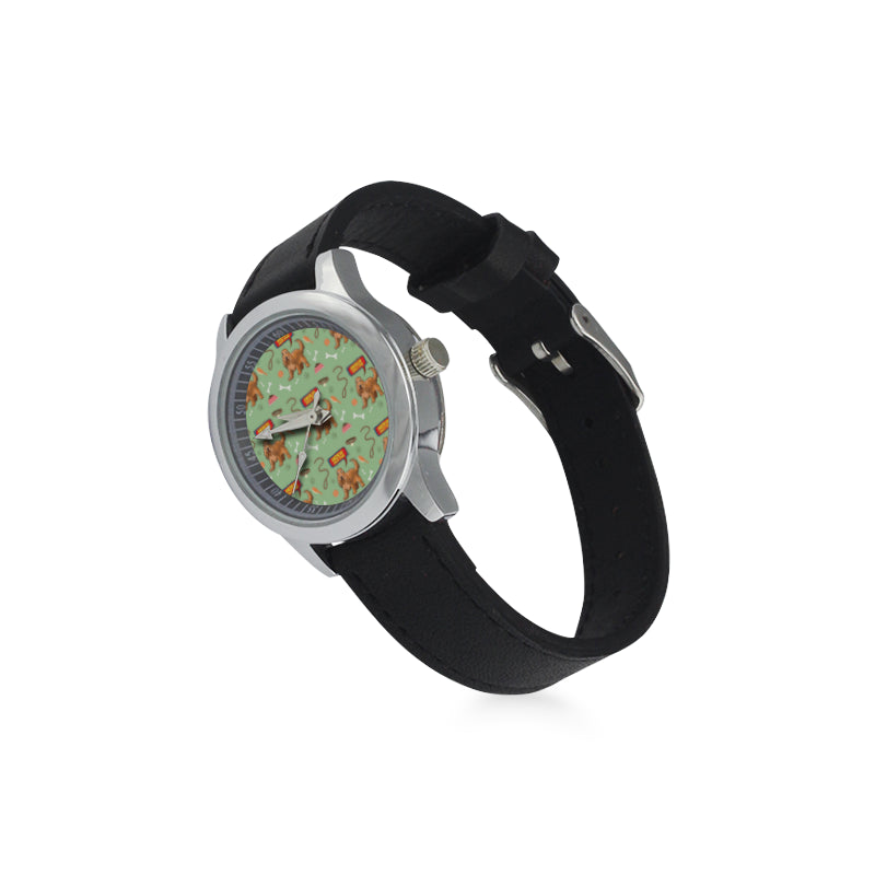 American Cocker Spaniel Pattern Kid's Stainless Steel Leather Strap Watch - TeeAmazing