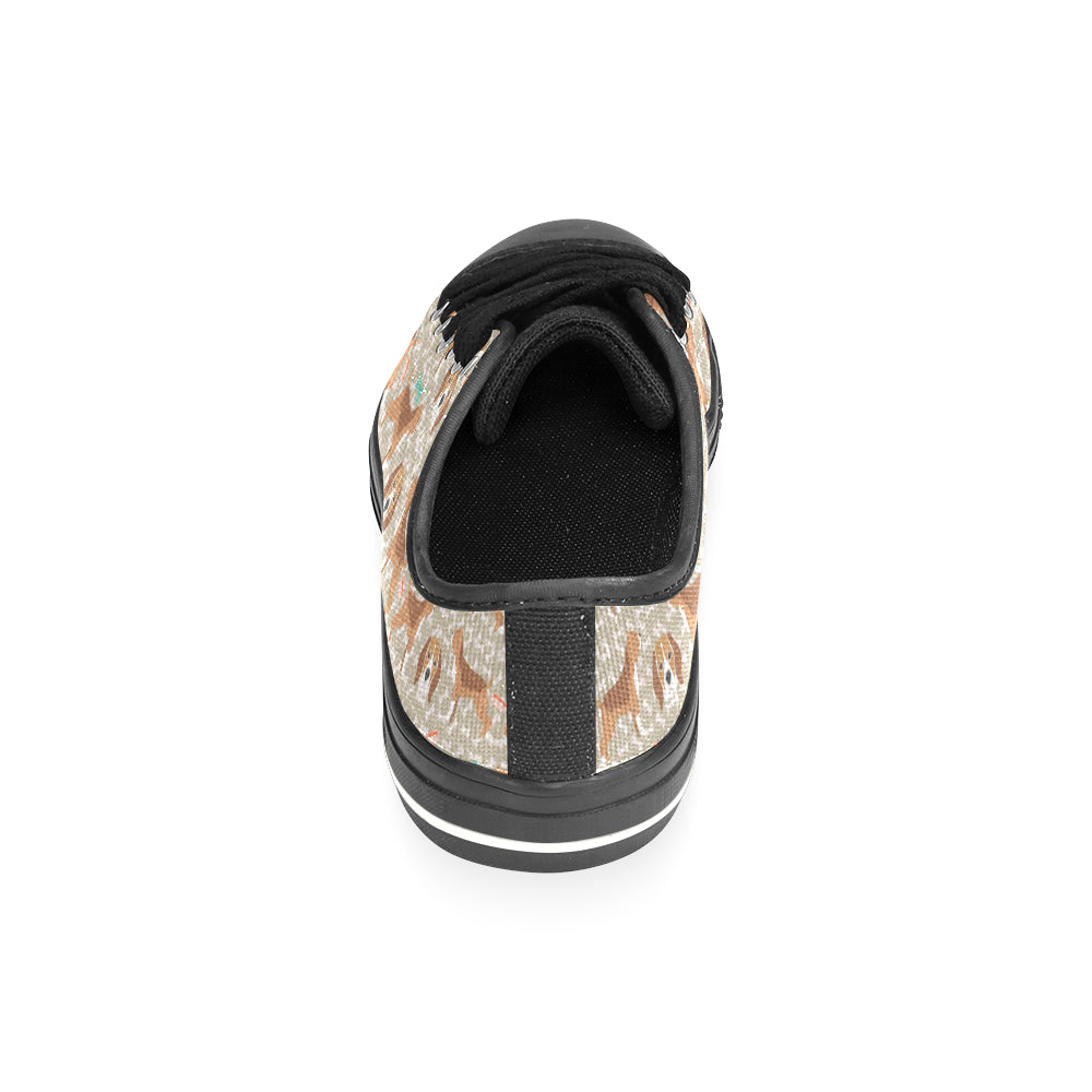Beagle Pattern Black Low Top Canvas Shoes for Kid - TeeAmazing