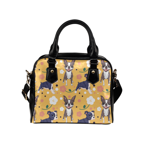 Boston Terrier Flower Shoulder Handbag - TeeAmazing