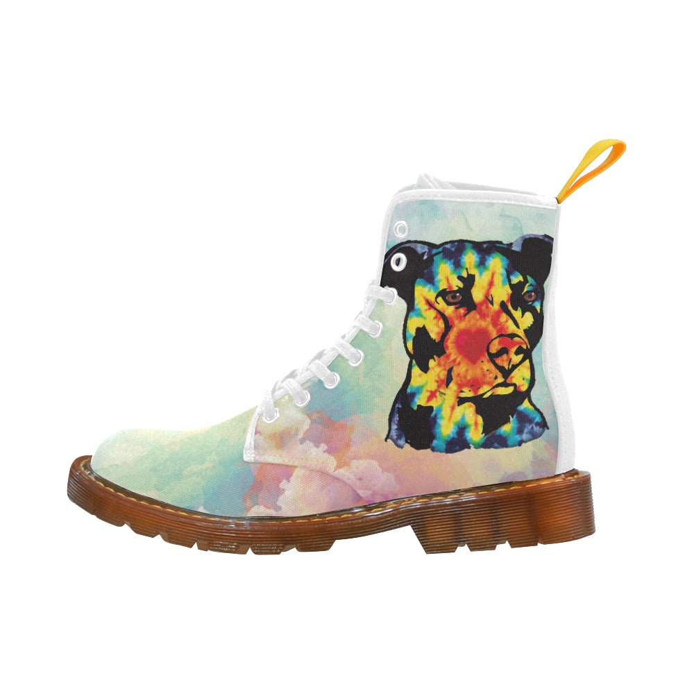 Pit Bull Pop Art No.1 White Boots For Women - TeeAmazing