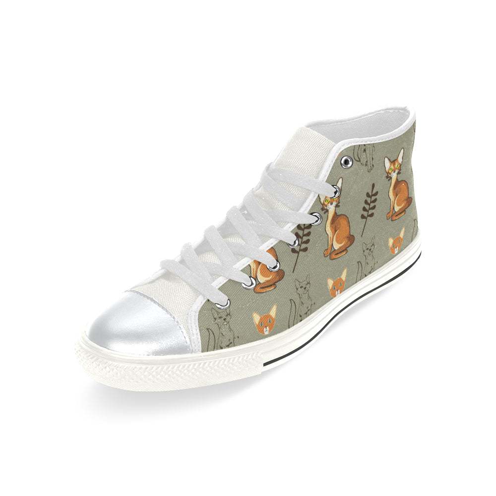 Abyssinian White High Top Canvas Shoes for Kid (Model 017) - TeeAmazing