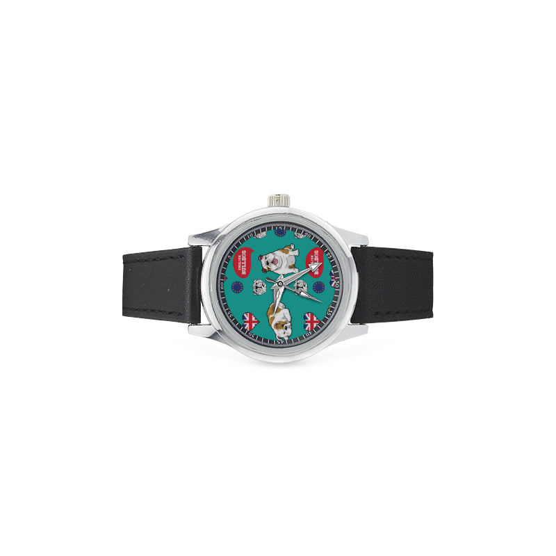 English Bulldog Kid's Stainless Steel Leather Strap Watch - TeeAmazing