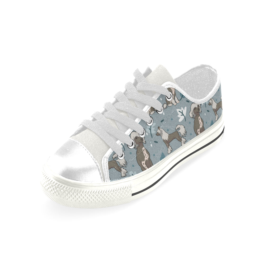 Chinese Crested White Low Top Canvas Shoes for Kid - TeeAmazing