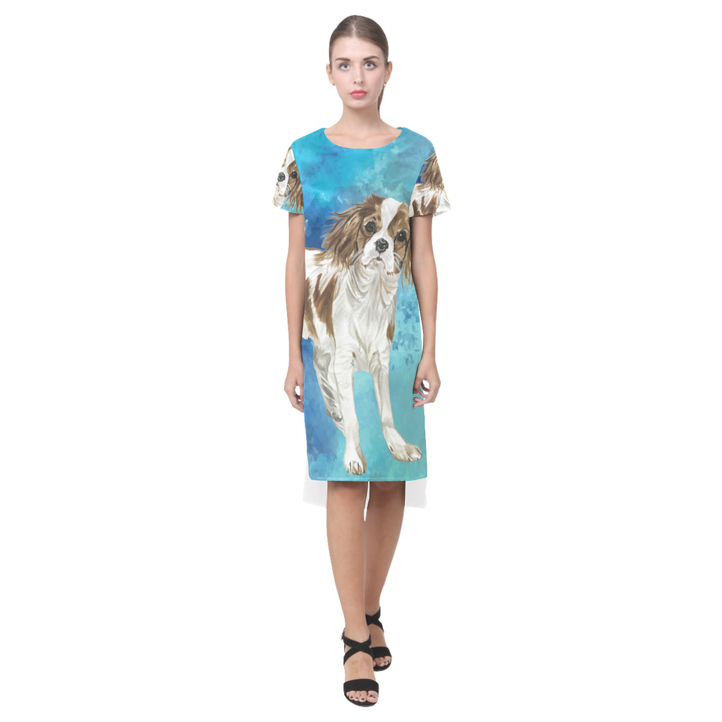 Cavalier King Charles Spaniel Water Colour No.1 Short Sleeves Casual Dress - TeeAmazing