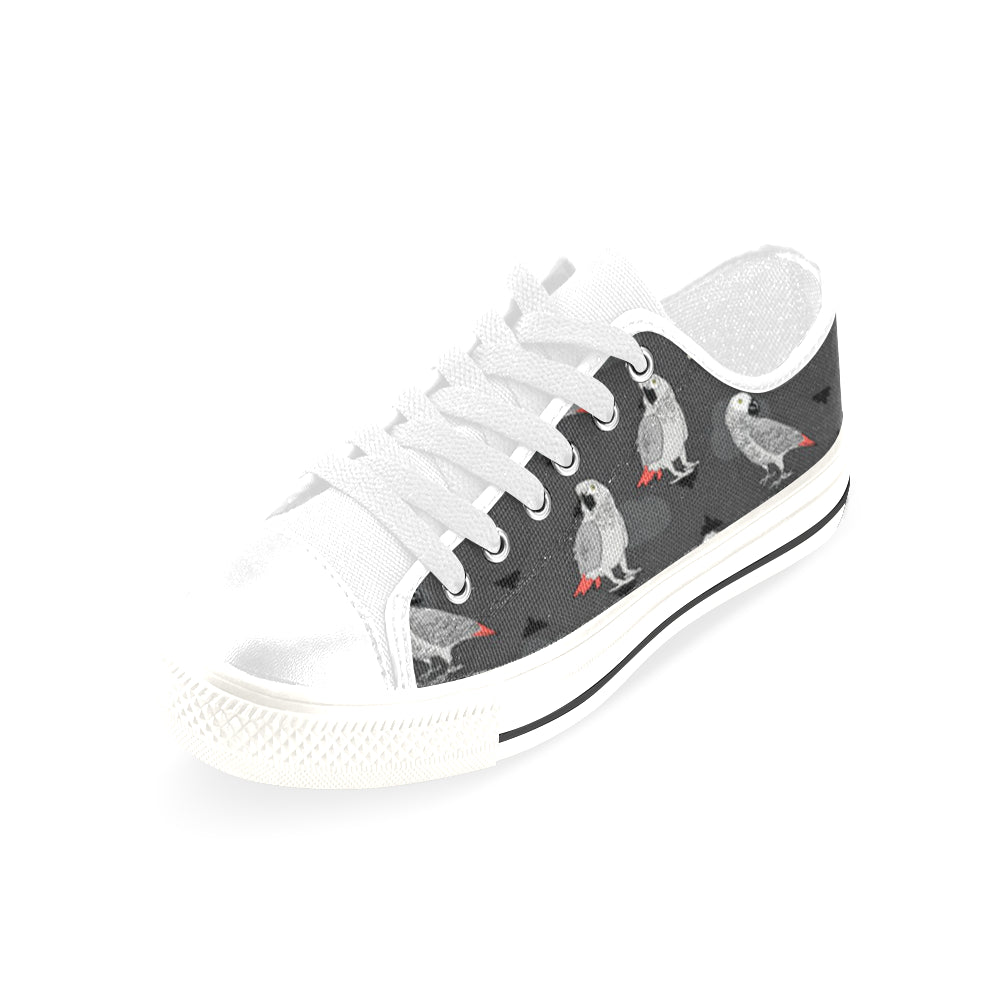African Greys White Men's Classic Canvas Shoes/Large Size - TeeAmazing