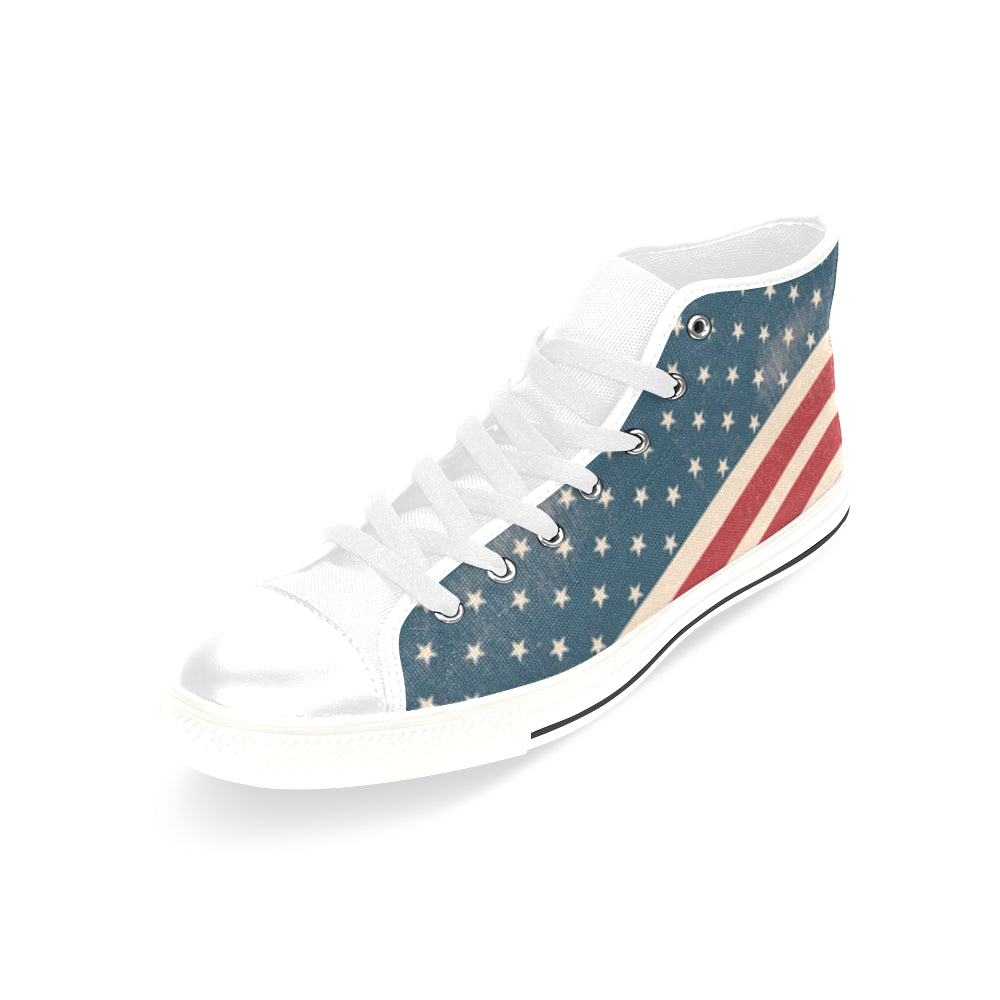 4th July V2 White Men's Classic High Top Canvas Shoes /Large Size - TeeAmazing