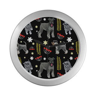 Miniature Schnauzer Flower Silver Color Wall Clock - TeeAmazing