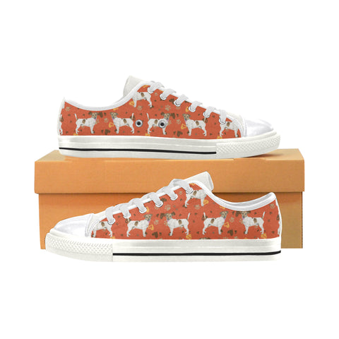 Jack Russell Terrier Water Colour Pattern No.1 White Canvas Women's Shoes/Large Size - TeeAmazing