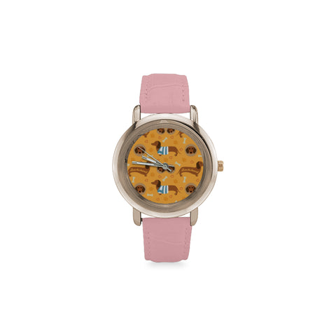 Dachshund Pattern Women's Rose Gold Leather Strap Watch - TeeAmazing