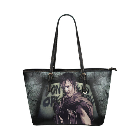 Daryl Dixon (Don't Open - Dead Inside) Leather Tote Bags - The Walking Dead Bags - TeeAmazing