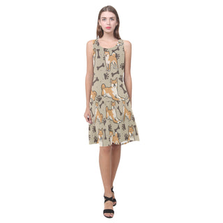 Shiba Inu Sleeveless Splicing Shift Dress - TeeAmazing