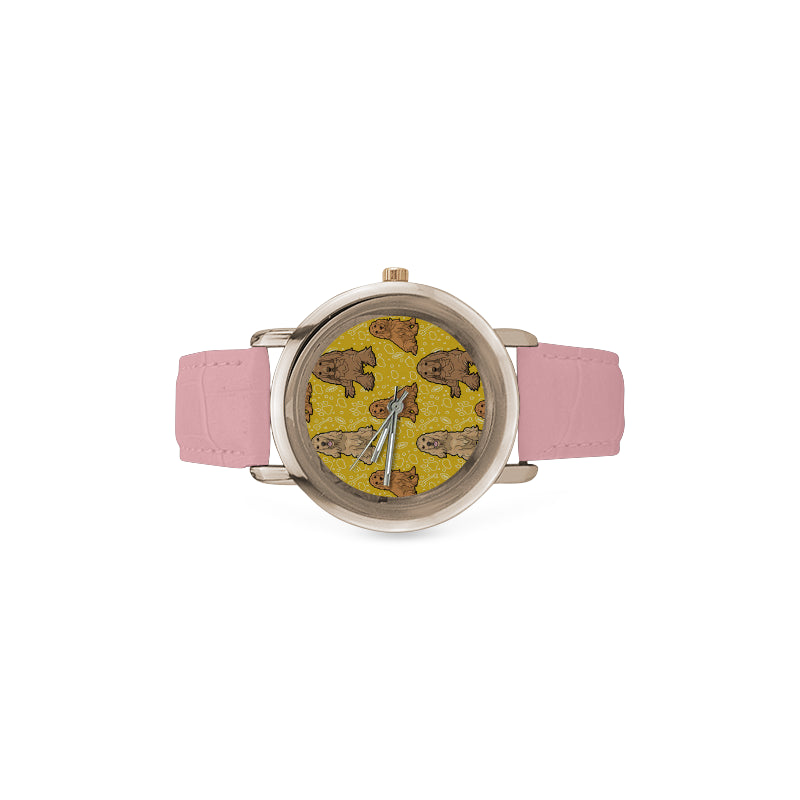 Cocker Spaniel Women's Rose Gold Leather Strap Watch - TeeAmazing