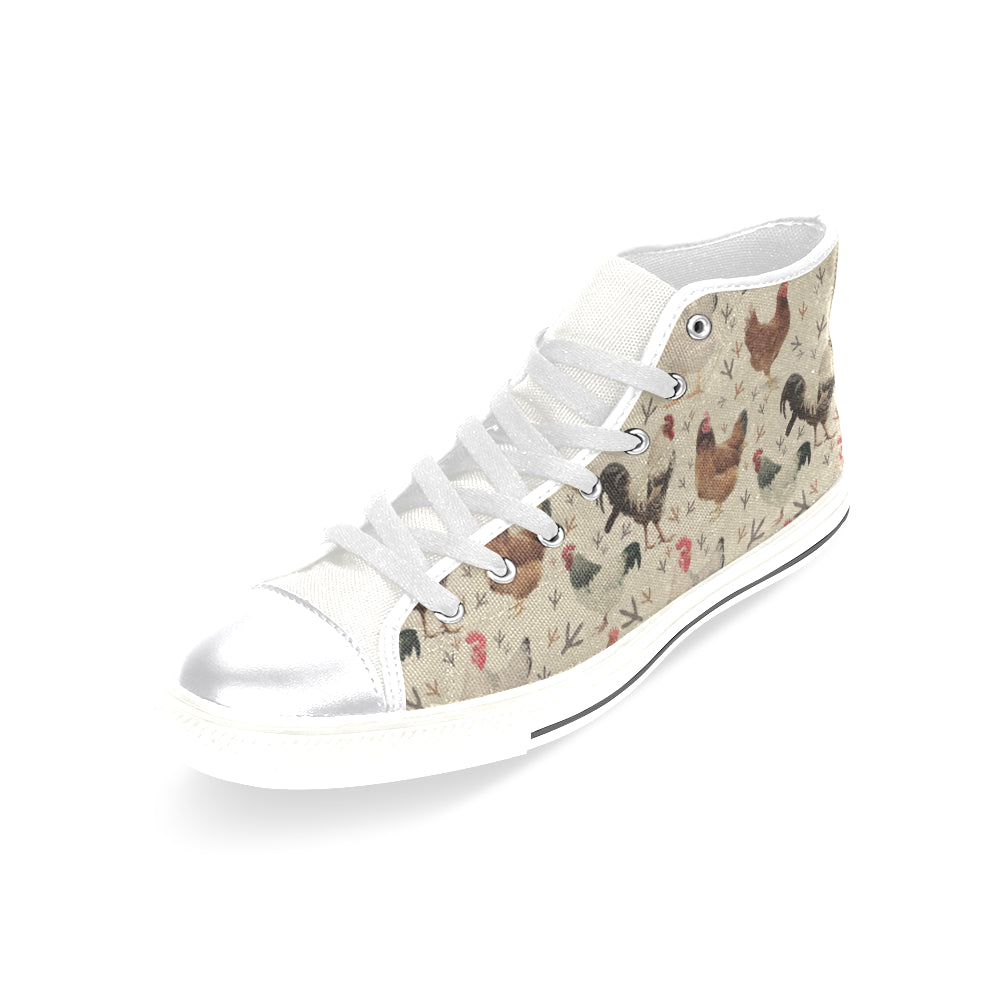 Chicken White Women's Classic High Top Canvas Shoes - TeeAmazing
