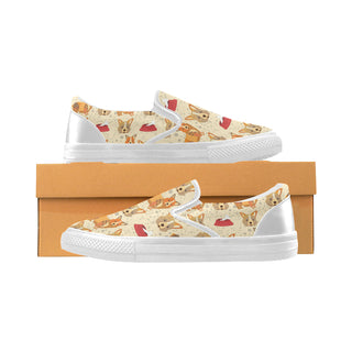 Corgi Pattern White Women's Slip-on Canvas Shoes - TeeAmazing