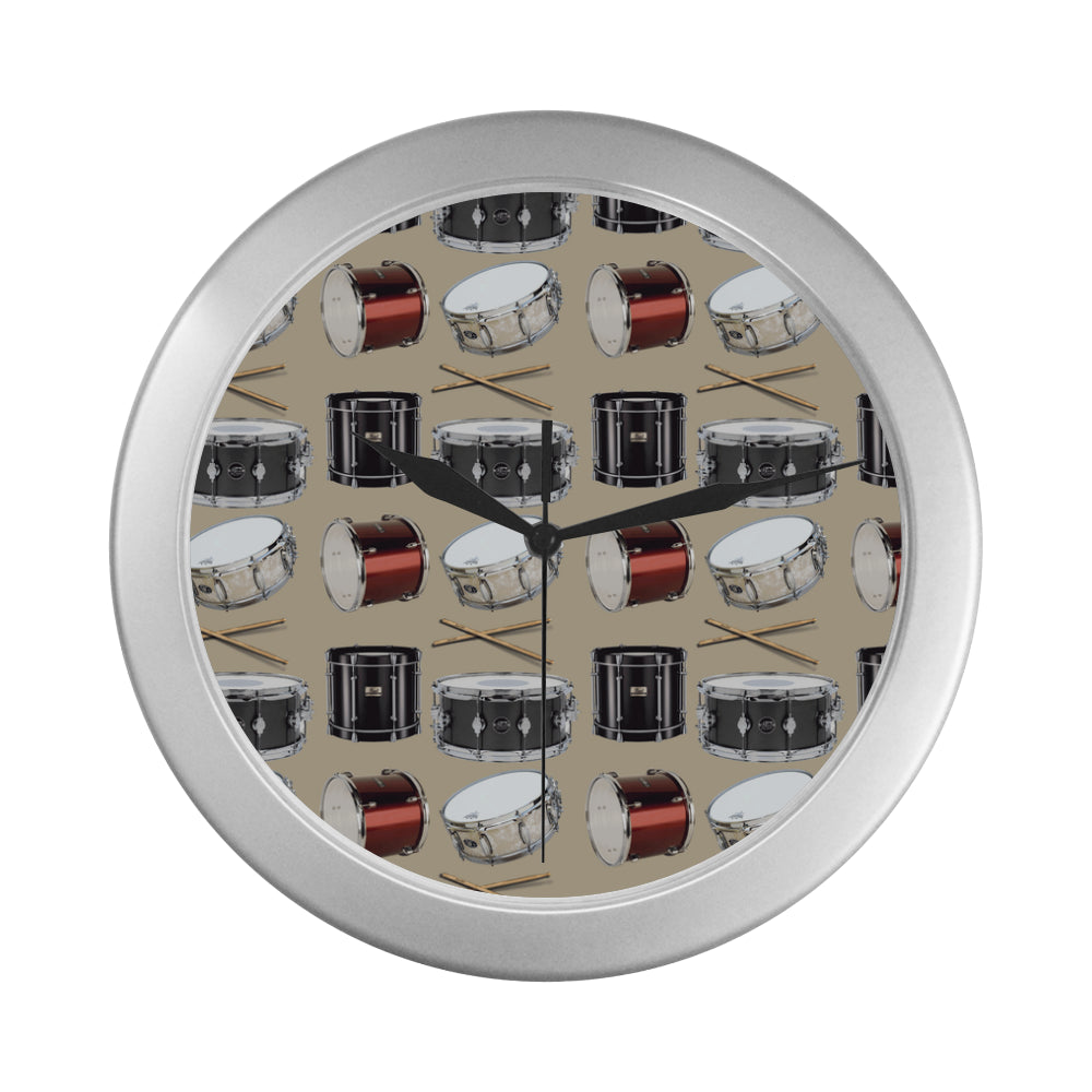 Drum Pattern Silver Color Wall Clock - TeeAmazing