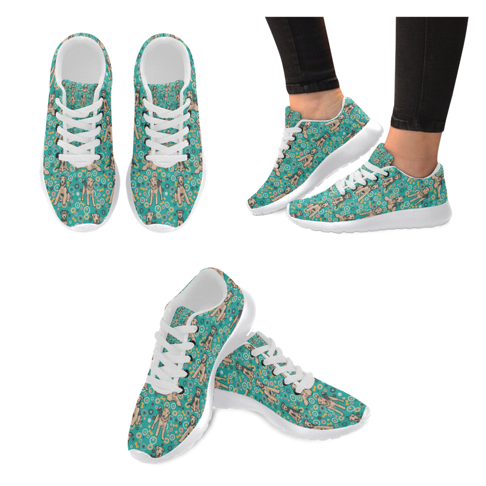 Airedale Terrier Pattern White Sneakers for Women - TeeAmazing