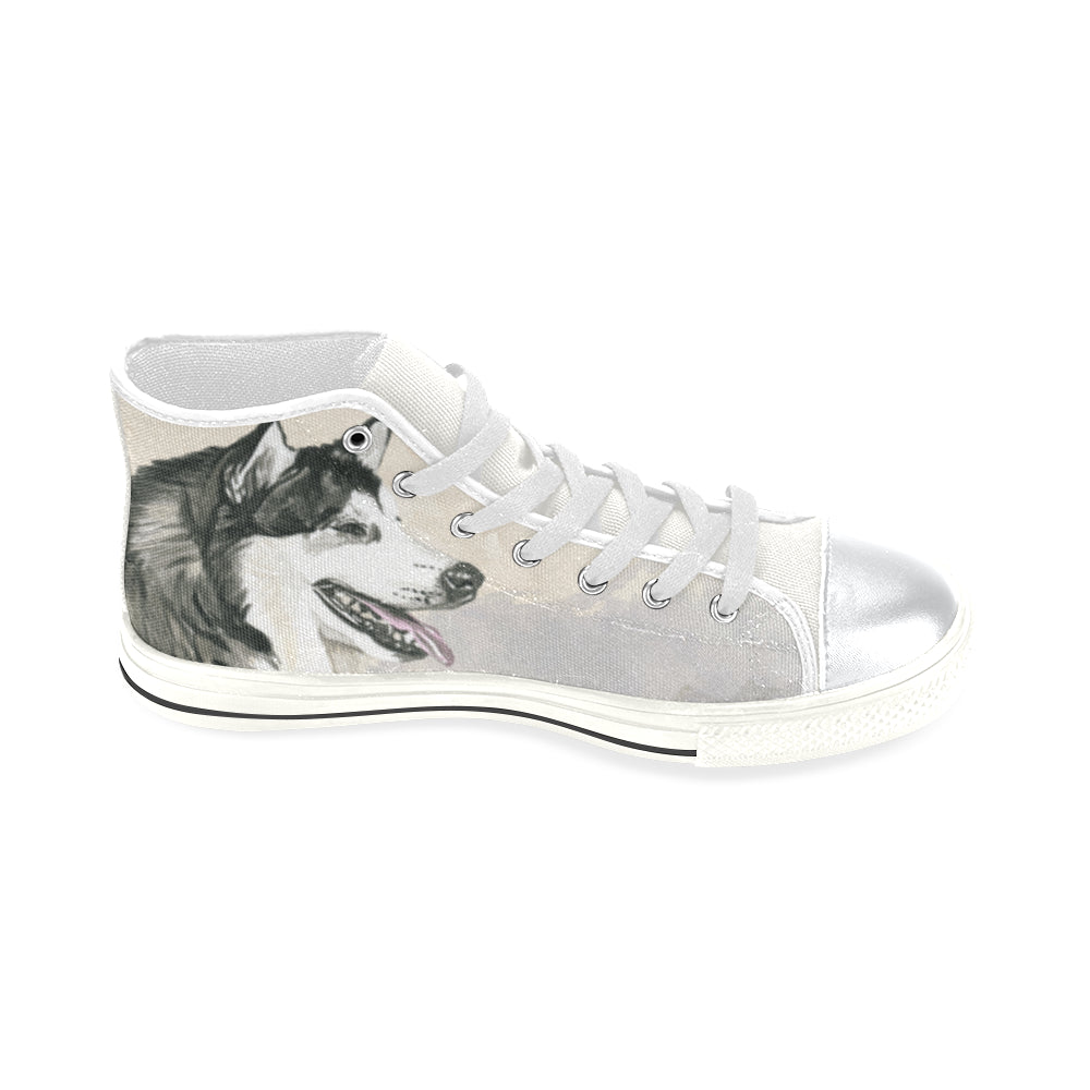 Alaskan Malamute Water Colour White High Top Canvas Shoes for Kid - TeeAmazing