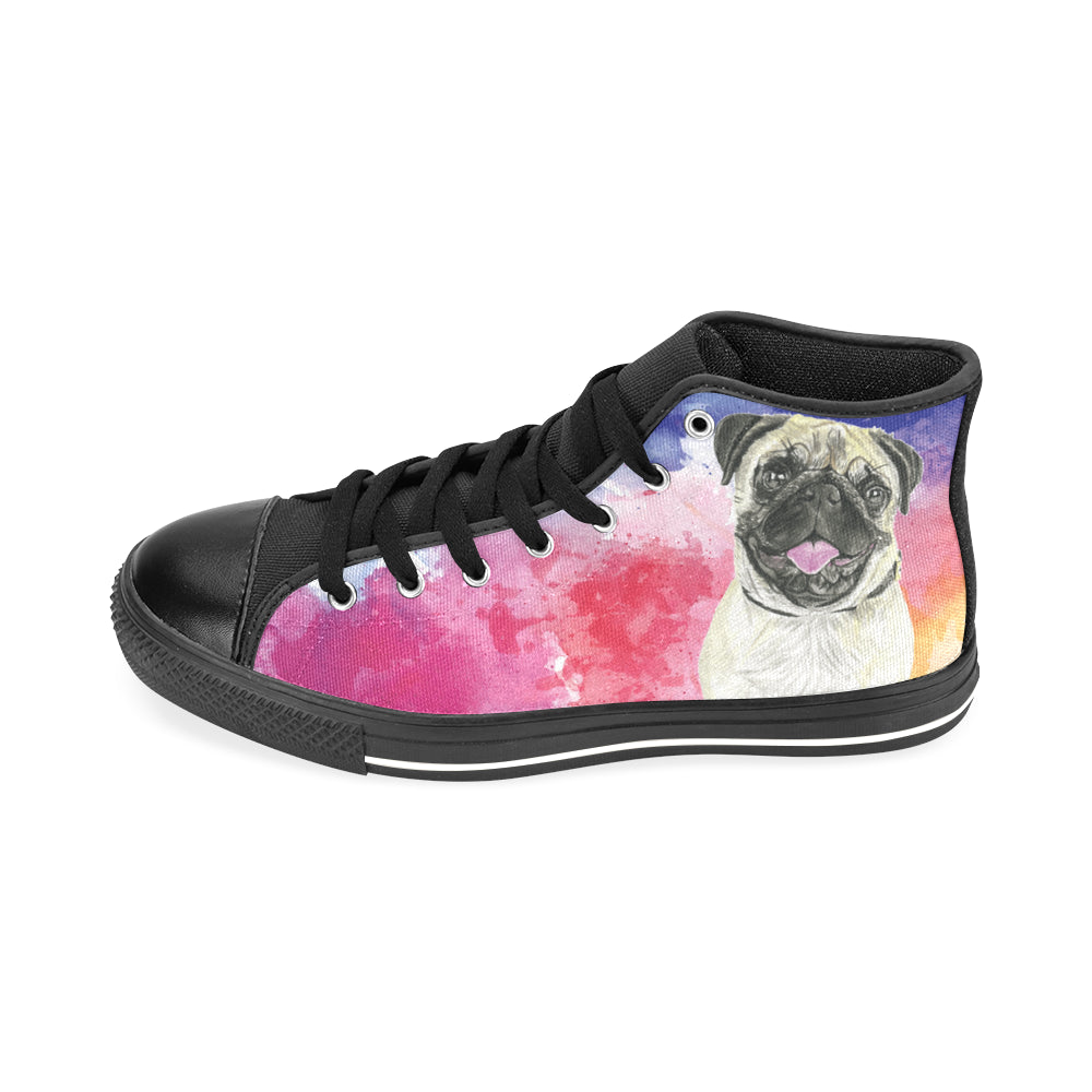 Pug Water Colour No.1 Black Men's Classic High Top Canvas Shoes /Large Size - TeeAmazing