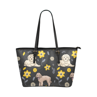 Goldendoodle Flower Leather Tote Bag/Small - TeeAmazing