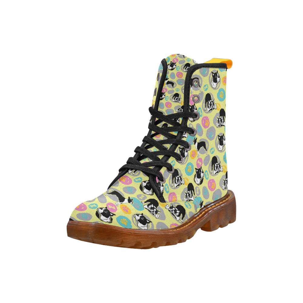 Boston Terrier Pattern Black Boots For Women - TeeAmazing