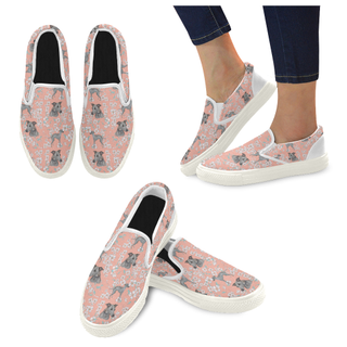 Italian Greyhound Flower White Women's Slip-on Canvas Shoes (Model 019) - TeeAmazing