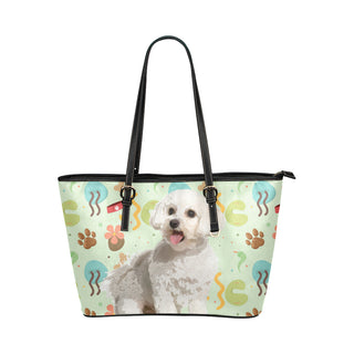 Maltipoo Leather Tote Bag/Small - TeeAmazing