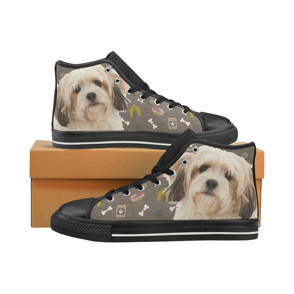 Cavachon Dog Black High Top Canvas Shoes for Kid - TeeAmazing