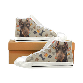 Doberman Dog White Men's Classic High Top Canvas Shoes - TeeAmazing
