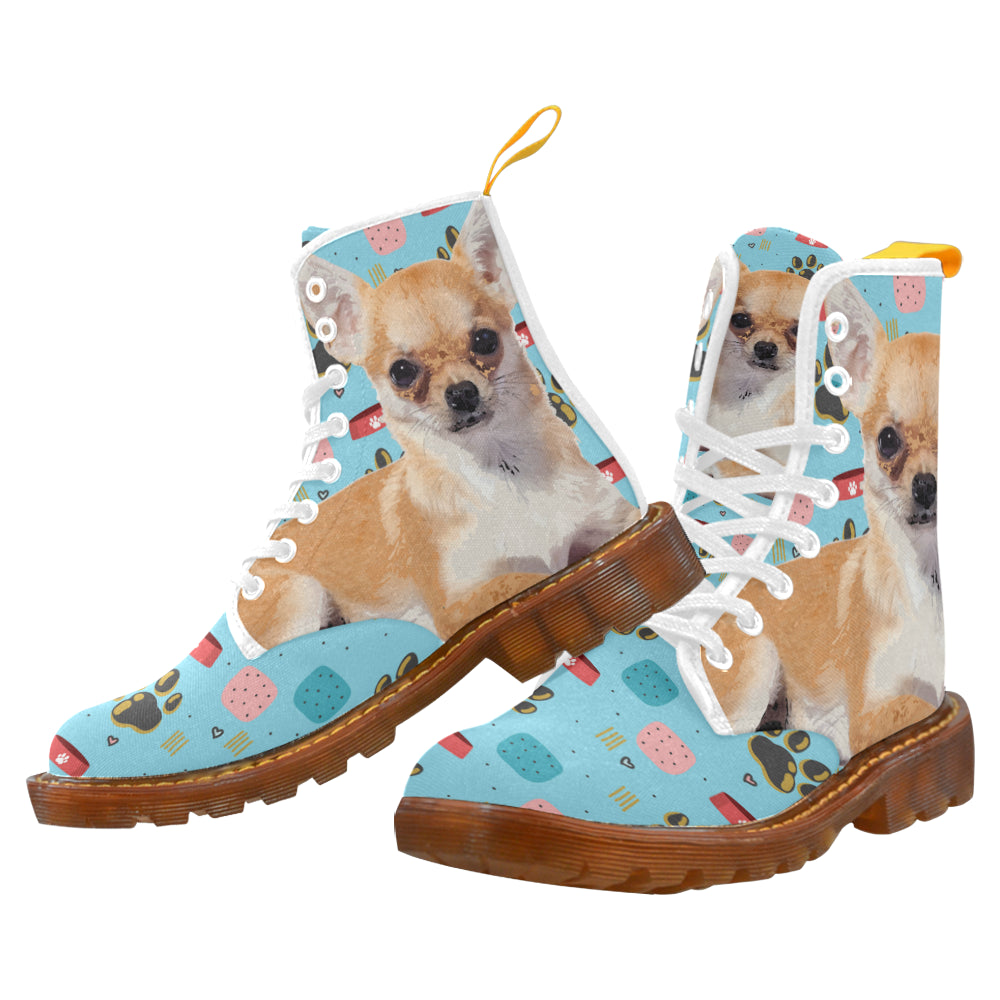 Chihuahua Leather Women Boots Custom Printed
