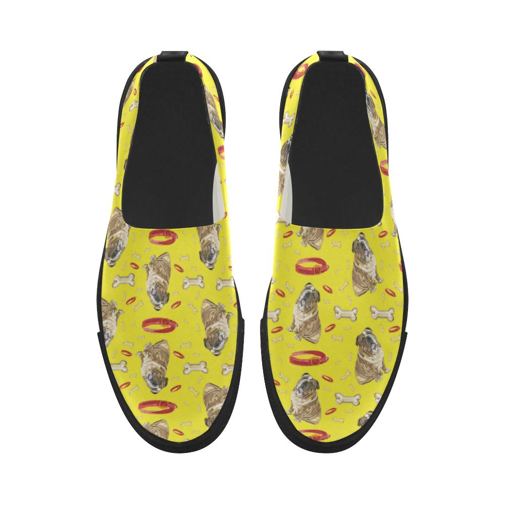 English Bulldog Water Colour Pattern No.2 Apus Slip-on Microfiber Women's Shoes - TeeAmazing