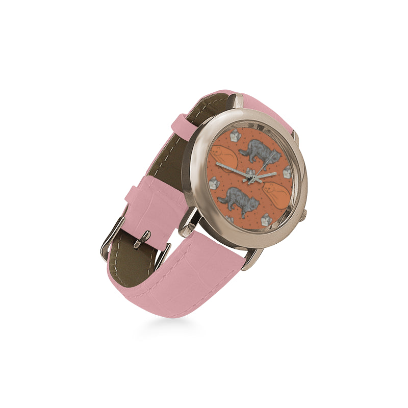American Curl Women's Rose Gold Leather Strap Watch - TeeAmazing