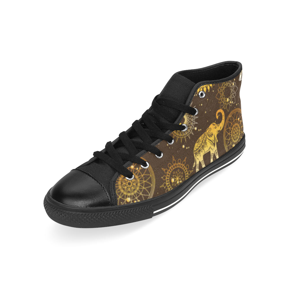 Elephant and Mandalas Black Men's Classic High Top Canvas Shoes /Large Size - TeeAmazing