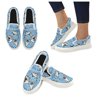 Shark White Women's Slip-on Canvas Shoes - TeeAmazing
