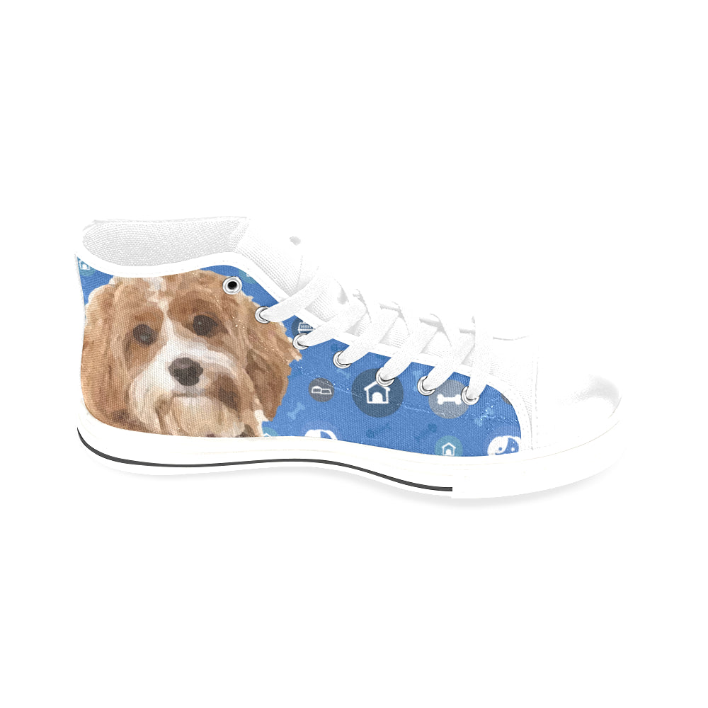 Cavapoo Dog White Men's Classic High Top Canvas Shoes /Large Size - TeeAmazing